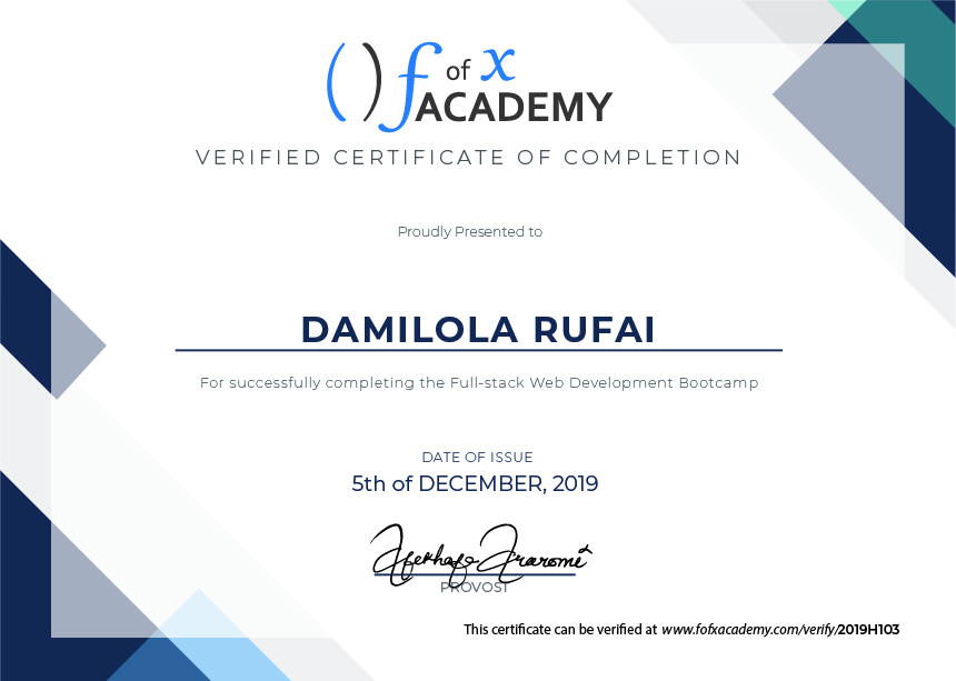 Certificate of Completion for Damilola Rufai, a member of Cohort Hydrogen, the Developer Bootcamp  held at fofx Academy, Gbagada-Lagos Training Center.